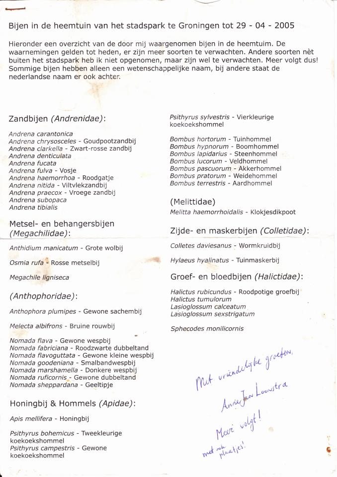 Lijst met bijenwaarnemingen.